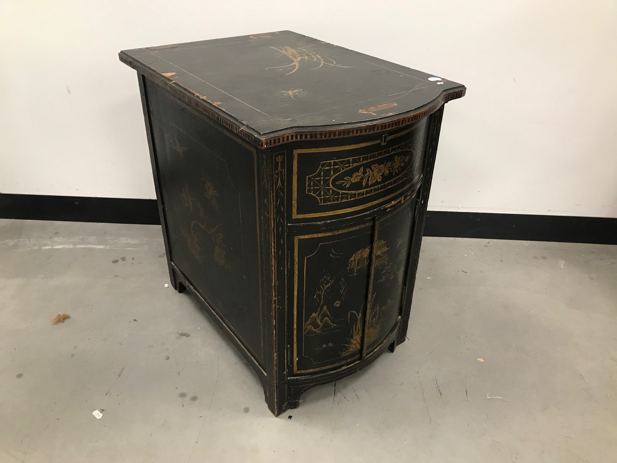 An Art Deco period chinoiserie gramophone cabinet, now converted and doors locked