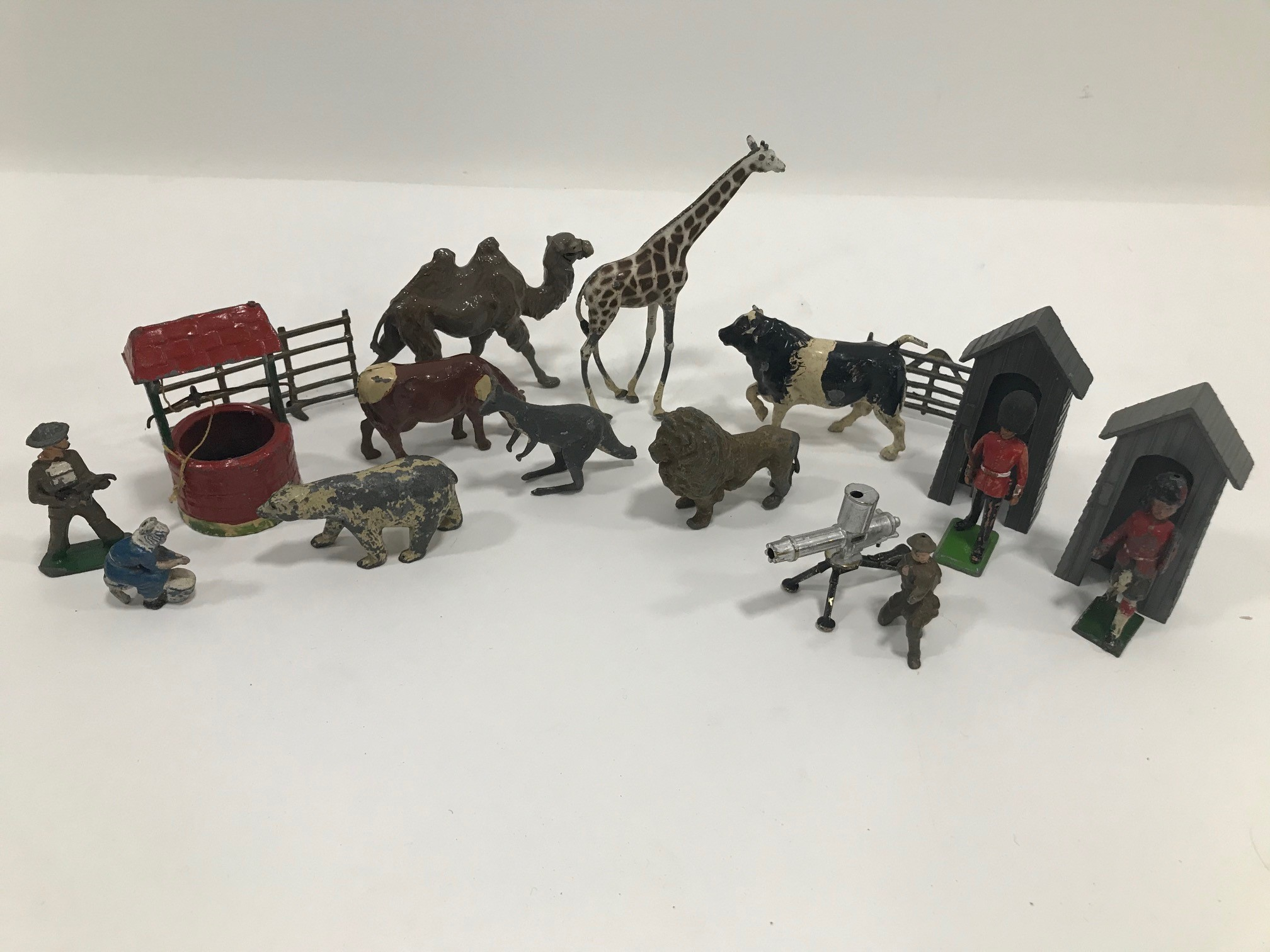 A collection of Britains and other lead and metal figures and other items, with animals, civilian