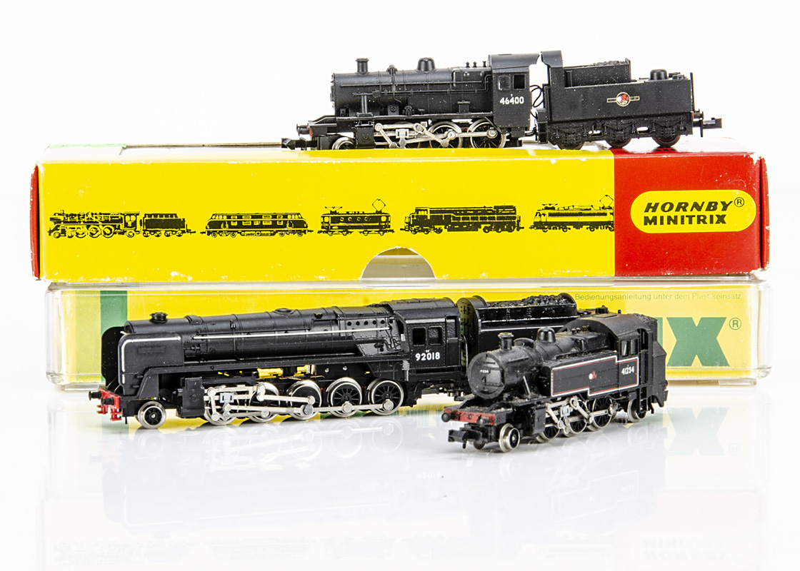 Minitrix N Gauge BR Steam Locomotives, three boxed/cased examples 12058 class 9F 92018 cased, N202