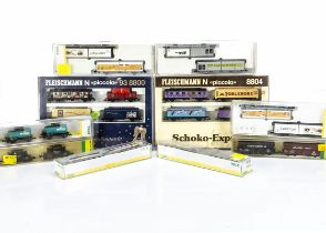 N Gauge Minitrix and Fleischmann Continental Goods Wagons, a cased group of two or more wagons,