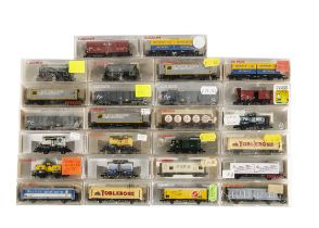 N Gauge Fleischmann Continental Goods Wagons, a cased group including container trucks, tank wagons,