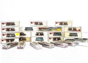 N Gauge Hobby Train Continental Goods Wagons, a cased collection, freight cars 31072, 31073,