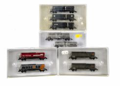 N Gauge Continental Tank Wagon Sets By Minitrix, four cased sets 15249, 15151 each containing