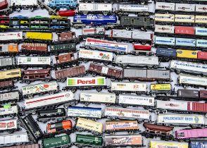 Unboxed N Gauge Continental Goods Wagons, various examples, tank wagons, flat trucks, sliding door