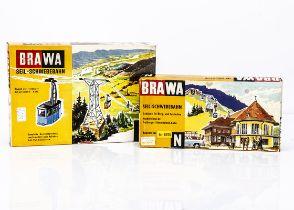 N Gauge Alpine Brawa Cable Car Kit, both boxed, 6560 Alpine Cable Car set and 6570 Alpine Cable