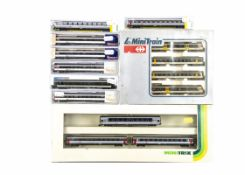 N Gauge Swiss Train and Coaching Stock, all cased or boxed of the SBB, includes Lima 163917 a four