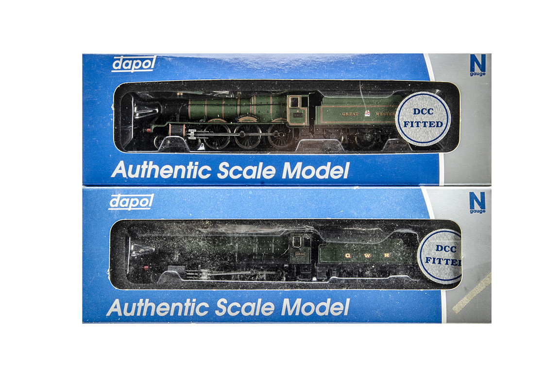 Dapol N gauge GWR Locomotives and Tenders, both in GWR green and apparently DCC-fitted, 4-6-0 no