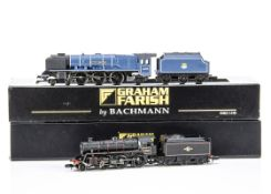 Graham Farish By Bachmann BR Steam Locomotives and Tenders, both cased with card sleeves 372175