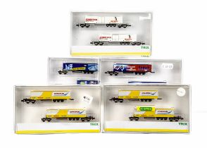 N Gauge Continental Goods Wagons Sets, five cased sets each includes two container trucks, 152251,