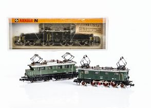 Continental N Gauge Electric Locomotives, three examples a cased Arnold 2465 Crocodile 14270 of