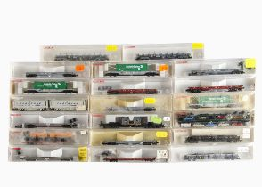 N Gauge Fleischmann Continental Goods Wagons, a cased collection, including low load/rolling road