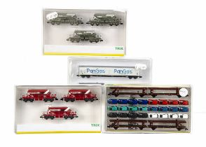 N Gauge Continental Goods Wagons Sets, four cased sets 15207 articulated car transporters with 24