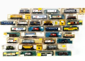 N Gauge Continental Goods Wagons by Ibertren and Rivarossi, a cased collection includes trucks,