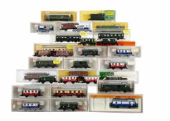 N Gauge Continental Branchline Coaching Stock, various examples Fleischmann blue and white