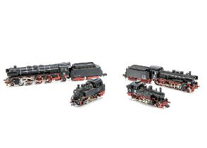 Continental N Gauge Steam Locomotives, four unboxed examples, locomotives with tenders, Minitrix