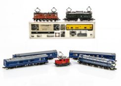 Continental and Japanese N Gauge Electric Locomotives and Coaches, a cased Arnold 4646 overhead