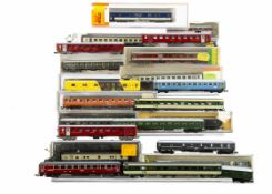 Swiss and Other N Gauge Coaches, SBB including cased blue livery Roco N24466 and uncased Minitrix