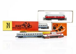 N Gauge Piko Modellbahn Continental Diesel Locomotives, four boxed examples 5/4100 V180 006 of the