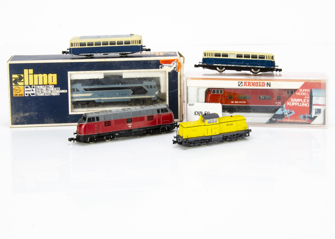 N Gauge Continental Diesel Locomotives, three cased/boxed examples Arnold 2027 AM 4/4 18 463 of
