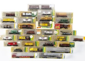 Minitrix N Gauge Goods Wagons, a mainly cased collection includes coal/gravel wagons 13691, 3569,