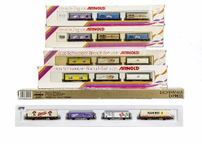 N Gauge Arnold Continental Goods Wagons Sets, five boxed sets all with advertising for confectionary