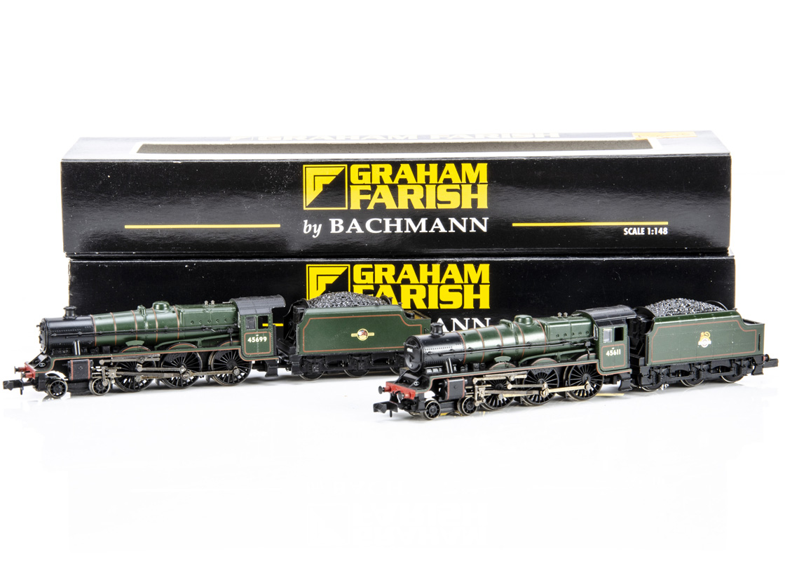 Graham Farish By Bachmann BR Steam Locomotives and Tenders, both cased with card sleeves Jubilee