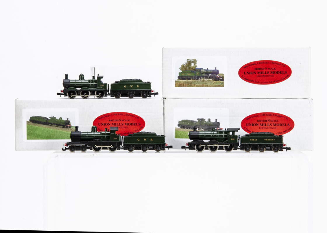 Union Mills N gauge GWR Locomotives and Tenders, all in GWR green with tender drive units, 'Dukedog'