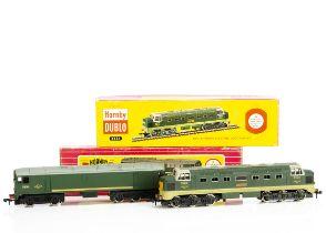 Boxed Hornby-Dublo 00 gauge 2-rail Diesel Locomotives, both in BR green, ref 2233 Co-Bo no D5702,