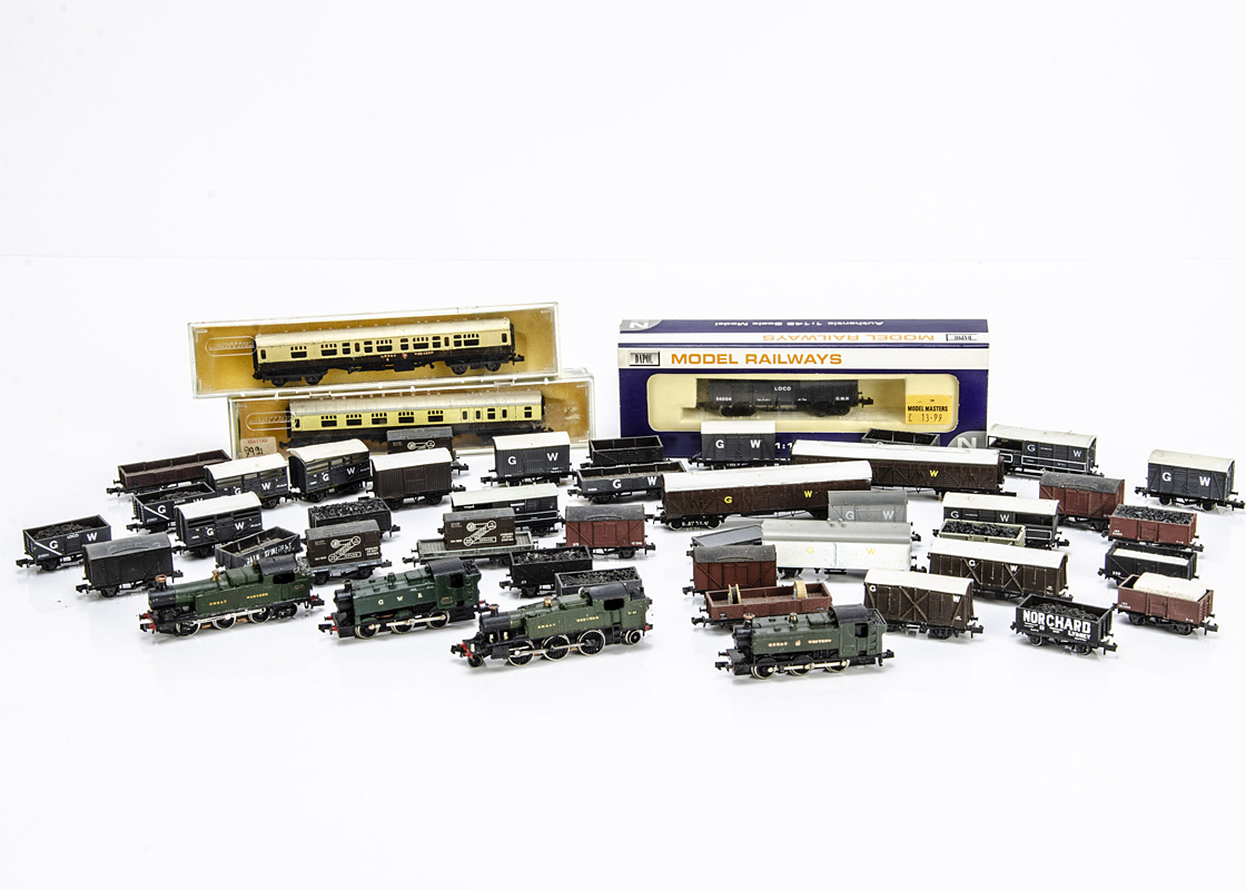 Kit-bodied or Modified Graham Farish N gauge GWR Tank Locomotives and assorted rolling stock,
