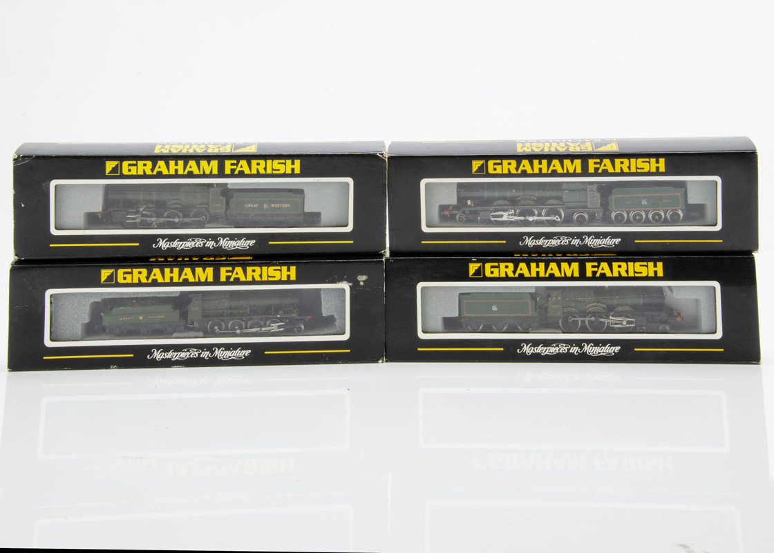 Kit-bodied or Modified Graham Farish N gauge GWR Churchward Locomotives and Tenders, comprising 4-