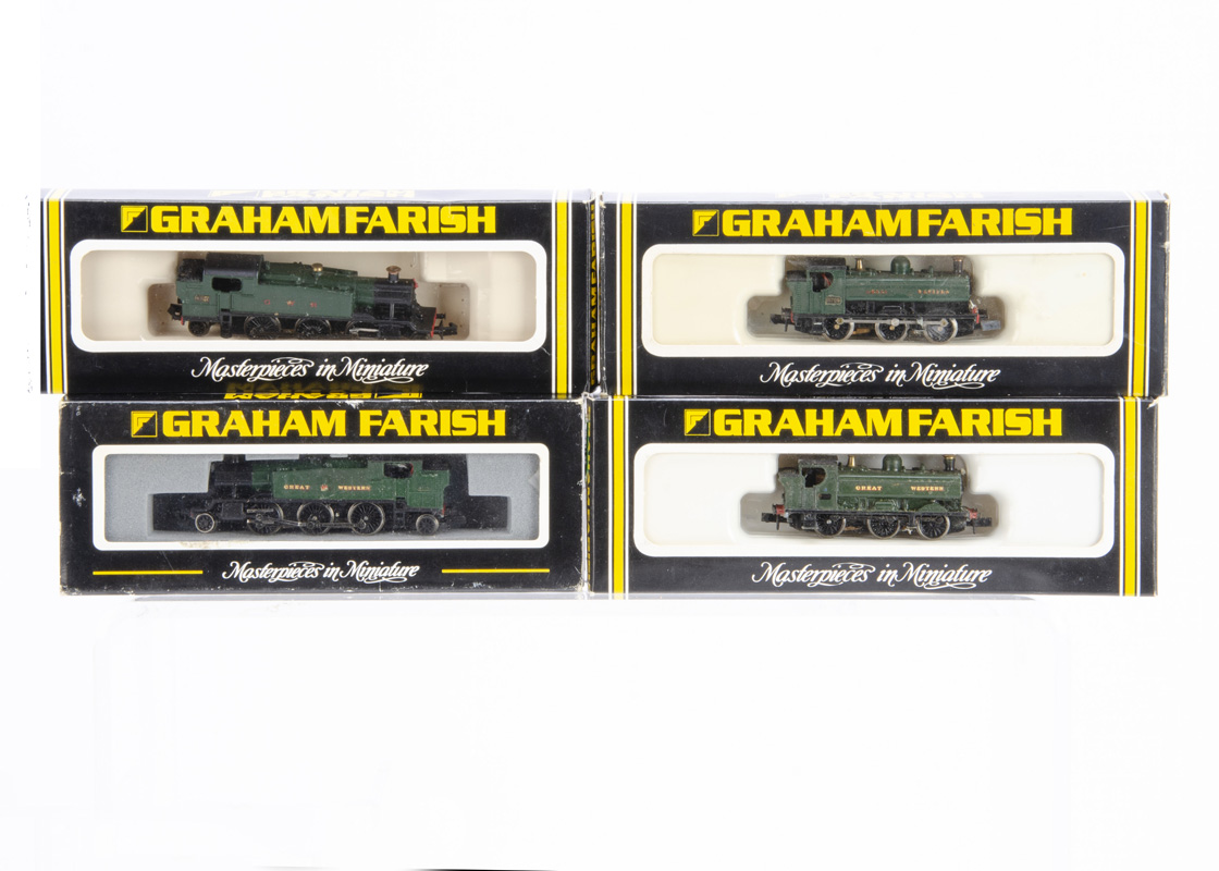 Kit-bodied or Modified Graham Farish N gauge GWR Tank Locomotives, all in GWR green, comprising '