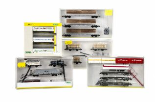 N Gauge Continental Goods Wagons Sets, five cased/boxed sets 15176 three Swiss lumber cars with