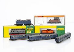 Continental N Gauge Electric Locomotives and Coaches, four examples a Minitrix 2933 Dutch 1150 of