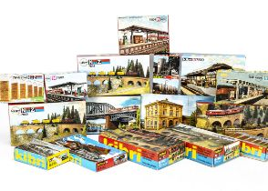 Kibri N Gauge Continental Buildings and Layout Accessory Kits, a boxed collection of plastic kits,
