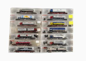 N Gauge Fleischmann Continental Goods Wagons, a cased group of rolling road wagons each mounted with
