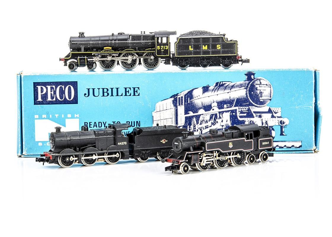 Graham Farish and Peco N Gauge British Outline Steam Locomotives, three boxed examples Graham Farish