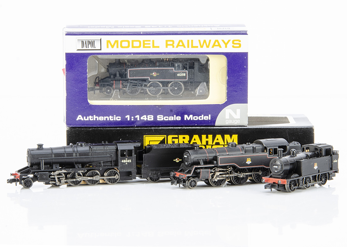 Graham Farish By Bachmann and Dapol BR Steam Locomotives, four cased examples Graham Farish 372-