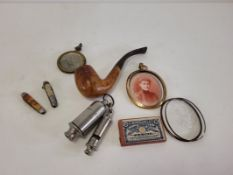 A small group of Edwardian collectables to include a gilt framed portrait miniature executed on a
