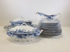 A Victorian flow blue pottery dinner service in the 'Beatrice' pattern, consisting of three