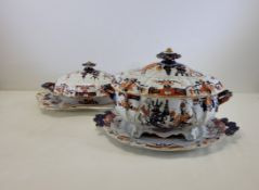 A substantial quantity of Ironstone wares to Include 19th Century Masons in an Imari palette, to