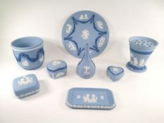 A small assortment of Wedgwood jasperware, to include a cache pot with relief moulded decoration