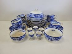 A group of blue and white George Jones Crescent pottery tableware all with a design of confronting
