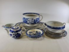 A substantial quantity of blue and white pottery to include a Copeland jug in the 'Spodes Tower'