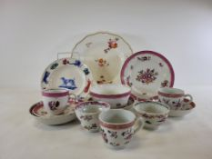 An assortment of polychrome enamelled porcelain in the manner of Newhall after the Chinese, to