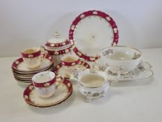 A quantity of 19th Century china to include a part service with moulded scrolling decoration and