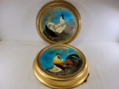Theodore Deck (1823-1891) a pair of Victorian framed circular art earthenware pottery chargers circa