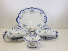An extensive Ridgways Royal Semi Porcelain dinner service of floriform shape with transfer printed