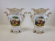 A pair of Continental porcelain vases with hand painted cartouches of courting couples in a rural
