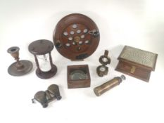 Maritime 'Captain Cabin' map reader compass with magnifying glass, together with a selection of