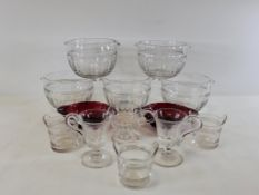 A small group of predominantly 19th Century glass ware to include five Victorian finger wash